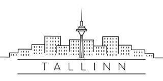 City of Europe, Tallinn line icon on white background