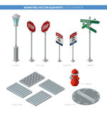 City exterior. Isometric vector elements. For your design royalty free illustration