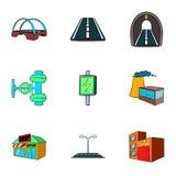City facilities icons set, cartoon style. City facilities icons set. Cartoon illustration of 9 city facilities vector icons for web Royalty Free Stock Photo