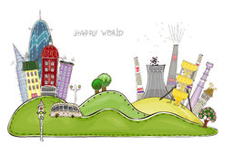 City and factory background Happy world collection Stock Photos