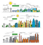 City and factory. Vector illustration of city and factory  icons Royalty Free Stock Images