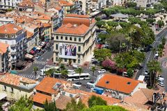 View of the bus station and the old port of Cannes Royalty Free Stock Images