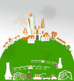 City and farm illustration White city collection Royalty Free Stock Photography