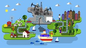 City farm and oil extraction. City farm fishing and oil extraction concept clean industry and poluted vector flat infographic vector Stock Photography