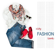 City fashion look background with denim and white blouse Royalty Free Stock Photography