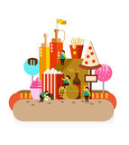 City of fast food and Obese people. Flat design elements. vector illustration royalty free illustration
