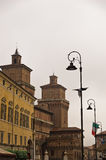 City of Ferrara downtown, castle Estense in background, Italy Stock Images