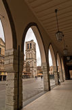 City of Ferrara downtown, turret or bell tower of saint George cathedral is in background, Italy Stock Photos