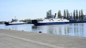 City ferry in Świnoujście, Poland. Crossing the harbor stock video footage