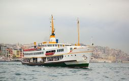 Ferry crossing the Bosphorus in Istanbul Royalty Free Stock Image