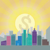 City financial district building. Vector cartoon Stock Photography