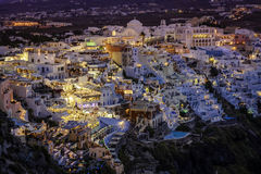 City of Fira at dusk, Santorini Royalty Free Stock Images