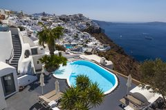 City Fira on the Island of Santorini Stock Photography