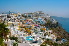 City of Fira in Santorini Stock Images