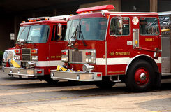 City Fire Department. Fire trucks parked outside of station royalty free stock photos