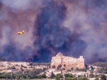 City on fire. Huge fire over the city of Vitrolles in south France on August 10, 2016. In the last years are increasing the cases of fires in southern Europe