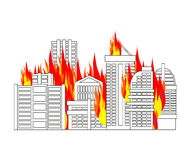 City fire. town on flames. Buildings burn.  Stock Photography