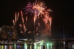 City Fireworks. Night time Fireworks at Darling Harbour in Sydney CBD Royalty Free Stock Images