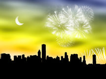 City fireworks Stock Photos
