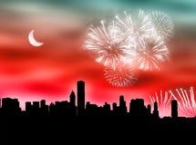 City fireworks Stock Photo