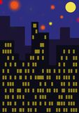 The city with fireworks stock illustration