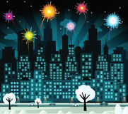 City and fireworks (New Year celebration). Vector illustration of night city and fireworks Stock Image
