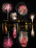City Fireworks Reflected in the Lake Stock Image