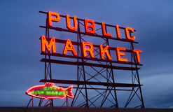 City Fish Public Market Neon Sign Seattle Washington Stock Images