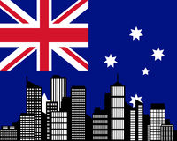 City and flag of Australia Royalty Free Stock Photography