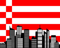 City and flag of Bremen Stock Photo