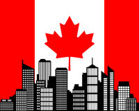 City and flag of Canada Stock Photo