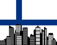 City and flag of Finland. Detailed and accurate illustration of city and flag of Finland Royalty Free Stock Photo
