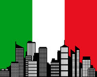 City and flag of Italy Royalty Free Stock Images