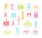 City flat color icons Stock Image