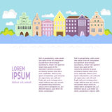 City flat design. Conceptual city flat design with houses, river, vector illustration, cartoon style. Architectural background for flyer or banner design Royalty Free Stock Images
