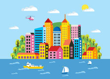 City flat  illustration Stock Photography
