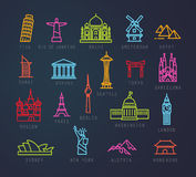 City flat neon icons Stock Image