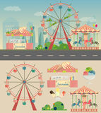 A city in flat style set of Park buildings Royalty Free Stock Photo