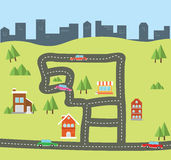 City flat from top view. Concept vector flat royalty free illustration