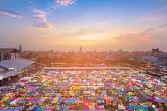 City flea market aerial view with central business downtown royalty free stock photos