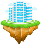 City, Floating Island, Buildings, Landscape. Vector Illustration of Floating City. Best for Business, Modern Life, Cityscape, Architecture & Buildings, Abstract Royalty Free Illustration