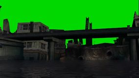 City in flood - green screen