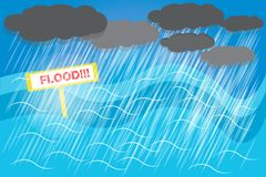 City. Floods must be prepared because the water may be flooded with no shelter. vector Royalty Free Stock Photography
