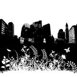 City Floral Grunge Background Royalty Free Stock Images