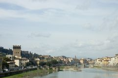 City of Florence 1, Tuscany, Italy. View of the city of Florence with coloured pastel houses, the vecchio palazzo, and its bridge on the Arno river royalty free stock photography