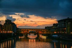 Florence and Ponte Vecchio Royalty Free Stock Photo