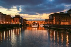 Florence and Ponte Vecchio Stock Images