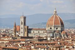 Florence, Italy, Cathedral and city panorama in Tuscany stock images
