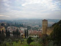 City of Florence and Tuscany landscape on a foggy day Royalty Free Stock Photos