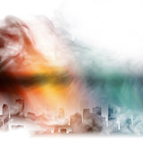 City in a fog. The city is enveloped in a mysterious fog Stock Images